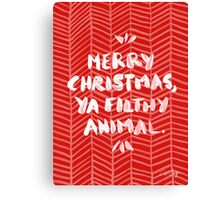 Merry Christmas, Ya Filthy Animal – Red Canvas Print