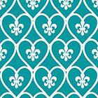Turquoise Heart Fleur De Lis  by runninragged