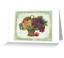 Old fashioned fruit basket picture done in beeswax Greeting Card