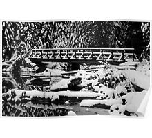 Snow Covered Bridge in Black and White Poster