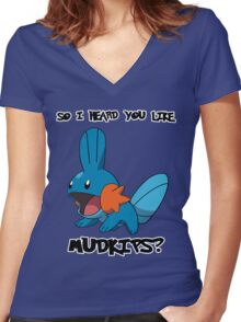 So I heard you like Mudkips? Women's Fitted V-Neck T-Shirt
