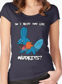 So I heard you like Mudkips? [White Text] Women's Fitted Scoop T-Shirt