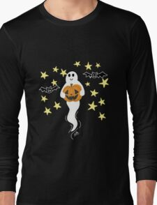 Cute Ghost with Jack-o-Lantern, Bats, & Stars Long Sleeve T-Shirt