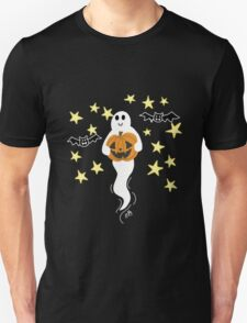 Cute Ghost with Jack-o-Lantern, Bats, & Stars Unisex T-Shirt