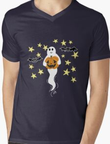 Cute Ghost with Jack-o-Lantern, Bats, & Stars Mens V-Neck T-Shirt