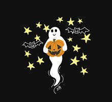 Cute Ghost with Jack-o-Lantern, Bats, & Stars T-Shirt