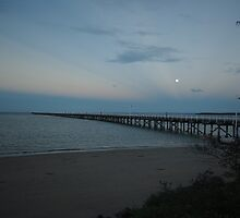 Full Moon over Urangan Pier  by Alison Murphy