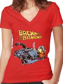 Back To The Banana Future Women's Fitted V-Neck T-Shirt