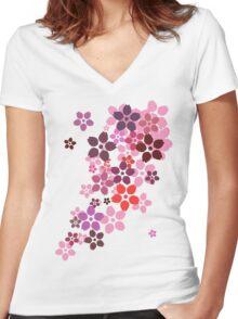 Sakura Women's Fitted V-Neck T-Shirt
