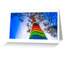 Yarn Bombed Tree, Swanston Street, Melbourne Greeting Card