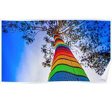 Yarn Bombed Tree, Swanston Street, Melbourne Poster
