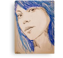 the girl with blue hair Canvas Print