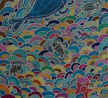 Sea creatures in the rainbow sea by FraghArtizart