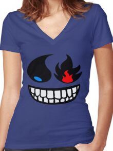 Pokemon fire and water face Women's Fitted V-Neck T-Shirt