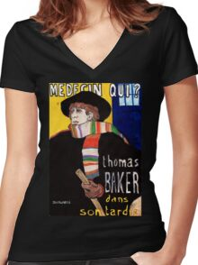 Medecin Qui? Women's Fitted V-Neck T-Shirt
