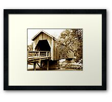 Vintage Look Covered Bridge Framed Print