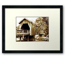 Vintage Look Covered Bridge Framed Print
