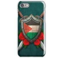 Palestinian Flag on a Worn Shield and Crossed Swords iPhone Case/Skin