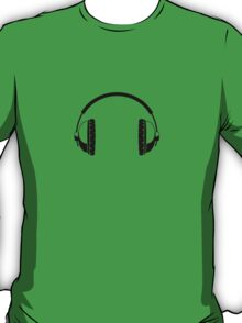 Headphones - Black Line Art - No Cord T-Shirt