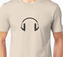 Headphones - Black Line Art - No Cord Unisex T-Shirt