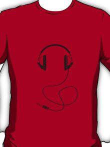 Headphones - Black Line Art - With Cord T-Shirt