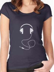 Headphones - White Line Art - With Cord Women's Fitted Scoop T-Shirt