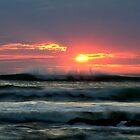 Dancing waves, setting sun by clickedbynic