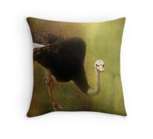 Curious Ostrich Throw Pillow