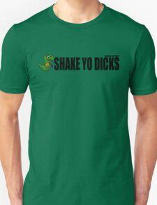 Shake Yo Dicks - Dinosaur - Black Unisex T-Shirt