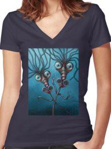 Slinky Seahorses Women's Fitted V-Neck T-Shirt