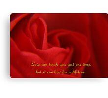 Romantic Rose & Words Canvas Print