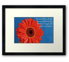 Red Gerbera & Romantic Wording.  Framed Print