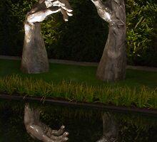 Reflecting hands sculpture seen at the Zurich Garden Show, Switzerland by Michael Brewer