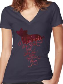 All Animals are Equal Women's Fitted V-Neck T-Shirt