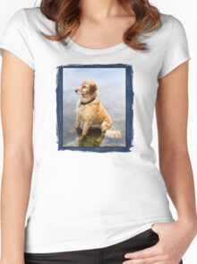 Wet Dog ~ Cooling Off At the Lake Women's Fitted Scoop T-Shirt