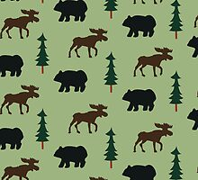Woodland Moose and Black Bear Case - Green by JessDesigns