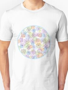 pattern with purple snowflakes on light background T-Shirt