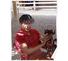 Young Man polishing a Carved Sculpture - Joven ligando una Esculptura Tallada Poster