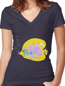 Yellow Fish Women's Fitted V-Neck T-Shirt
