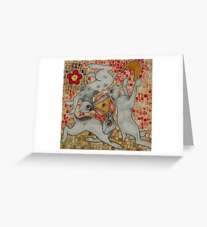 Three Hares Greeting Card