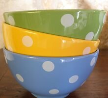Coloured breakfast bowls 2 by Carol Dumousseau