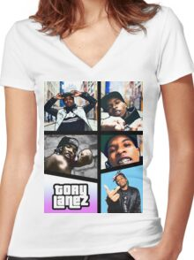 Tory Lanez Grand Thief Auto Women's Fitted V-Neck T-Shirt