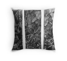 Triptych Drawing. Throw Pillow