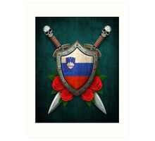 Slovenian Flag on a Worn Shield and Crossed Swords Art Print