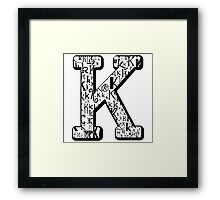 The Letter K, white background Framed Print