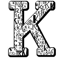 The Letter K, white background Photographic Print
