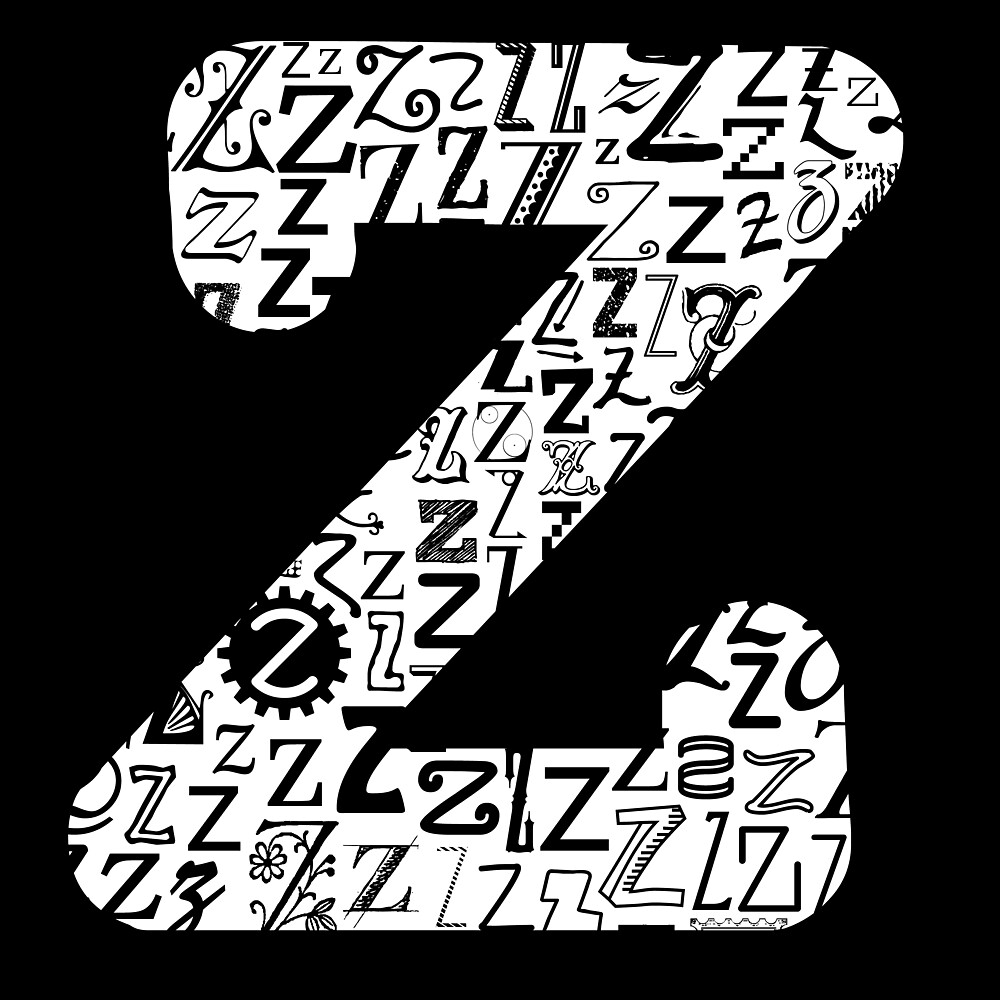 The Letter Z, black background by Julie Hartman