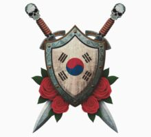 South Korean Flag on a Worn Shield and Crossed Swords Kids Tee