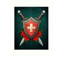 Swiss Flag on a Worn Shield and Crossed Swords Art Print