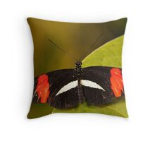 Crimson Patched Longwing Butterfly Throw Pillow